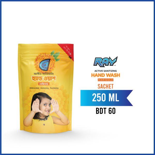 RAY Active Sanitizing Hand Wash Marigold 250 ml Sachet Pack