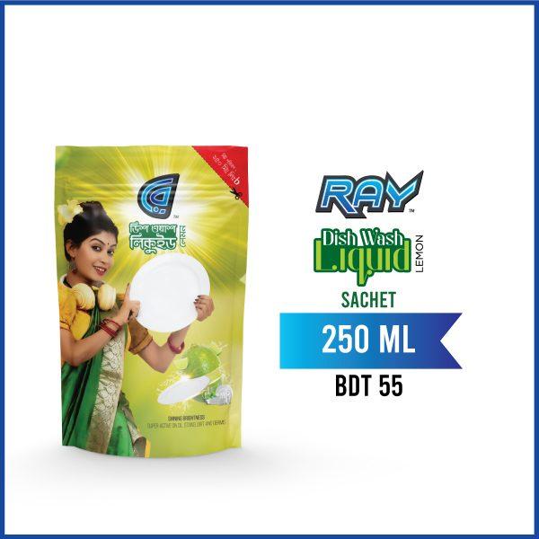 RAY Dish wash Liquid Refill 250 ml Sachet Pack